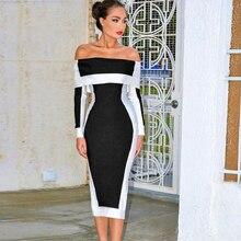 فساتين جديدة ضيقة بأكمام طويلة ضيقة للنساء Vestidos 2019 فستان حفلات مثير متوسط الطول للمشاهير
