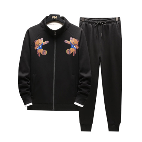 Men Casual Bear Gym Walk Jogging Sport Tracksuit Coat Jacket Trousers Pants Suit Spring Fall Outfit 2PC