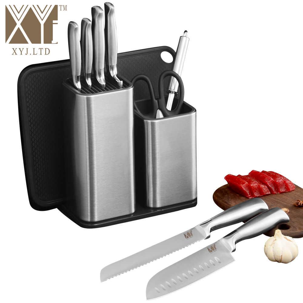 """6 """"8"""" الفولاذ المقاوم للصدأ المطبخ حامل سكاكين تخزين صخرة لإحماء السكين سكين حامل سكينة للطبخ كتلة مطبخ عالي الجودة اكسسوارات"""