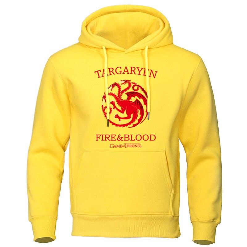 Fashion Hoodies For Men 2019 Autumn Winter Sweatshirts Targaryen Fire & Blood Men's Clothes Hip Hop Hoody Dragon Print Pullovers