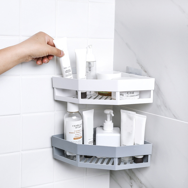 Bathroom Shampoo Holder Punch Free Corner Shelf  Bathroom Shampoo Shower Finishing Rack Kitchen Seasoning Storage Rack Organizer