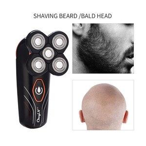 Image 3 - Rasoir électrique Rechargeable pour hommes, Machine de rasage tondeuse à barbe, avec 5 lames indépendantes flottantes, pour laver le corps entier