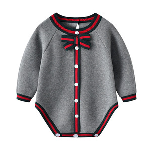Baby Bodysuits Clothes Autumn Casual Grey Knitted Newborn Infant Jumpsuits for Toddler Boys Girls Onesie Winter Children Outfits