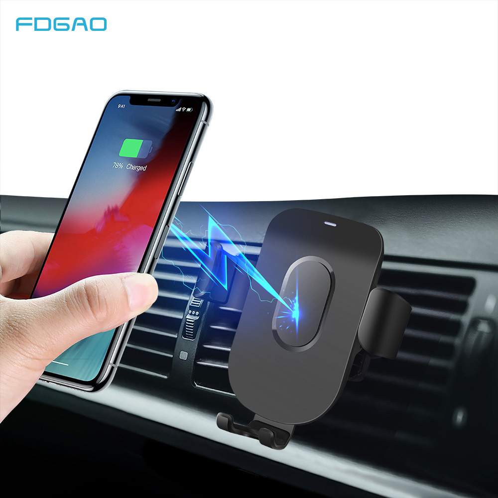 FDGAO 10W Car Mount Qi Wireless Charger For iPhone 11 Pro XS Max XR X 8 Samsung S10 S9 Fast Wireless Charging Car Phone Holder