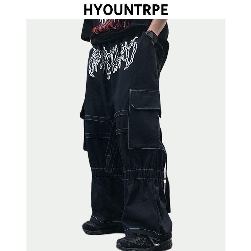 Джинсы мужские прямые с эластичным поясом, модные брюки свободного покроя в стиле хип-хоп, уличная одежда, повседневные джоггеры с широкими ...