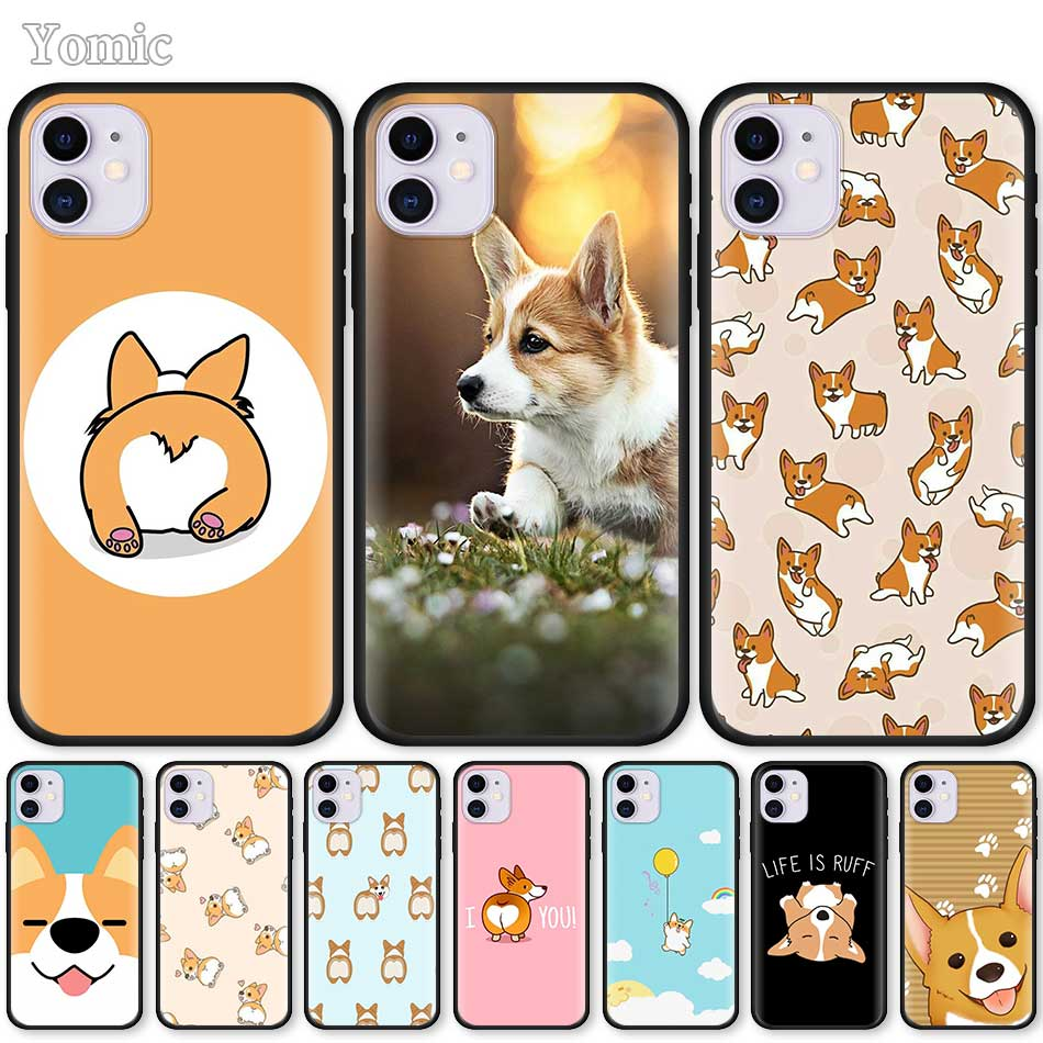 Soft <font><b>Case</b></font> For Apple <font><b>iPhone</b></font> <font><b>7</b></font> 8 XR 11 Pro X XS MAX 6 6S Plus 5 5S SE 2020 TPU Black Phone Cover Cute Corgi <font><b>Sexy</b></font> Cartoon Dog Ass image