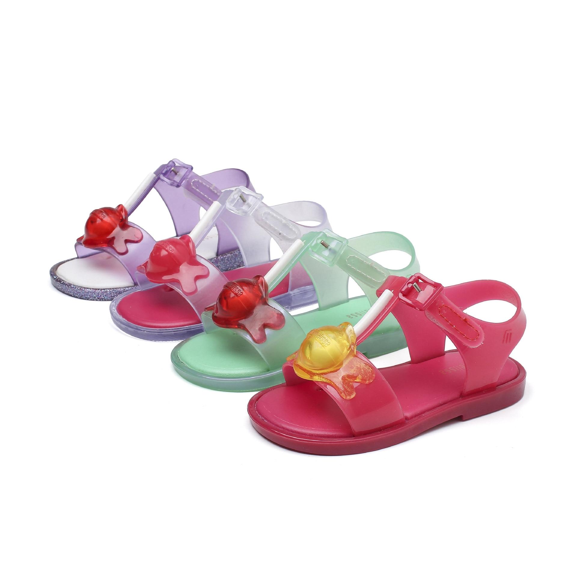 Mini Melissa Lollipop Girl Sandals New Original Girl Jelly Shoes Kids Sandals Children Beach Non-slip Toddlder Candy ShoeSH19085