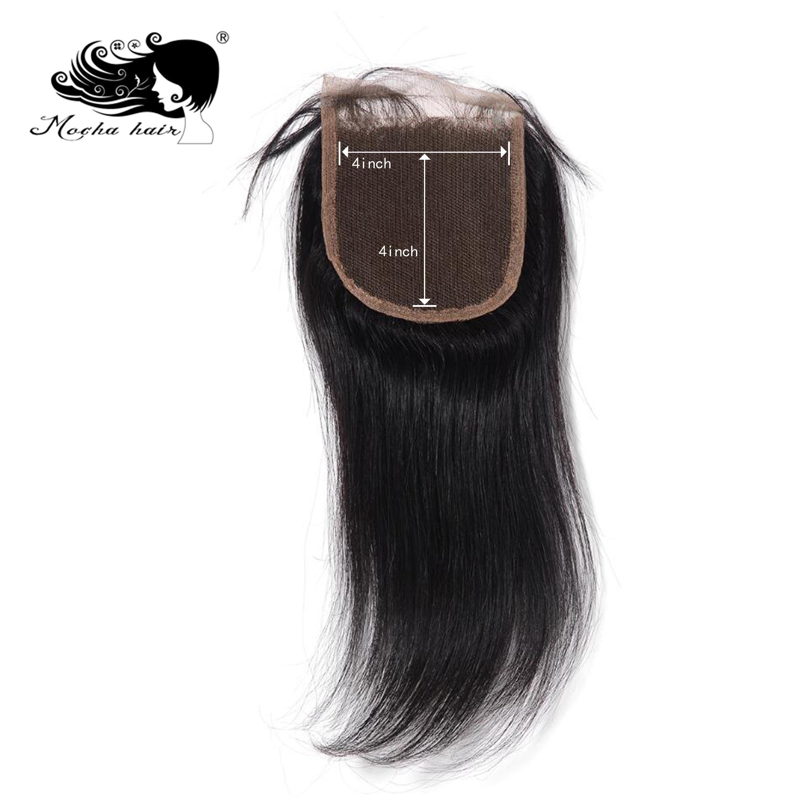 """Cabelo de mocha 4 """"x 4"""" fechamento do laço cabelo reto virgem brasileiro parte livre 8 polegada-18 polegada"""