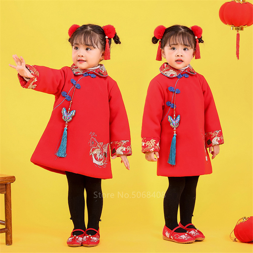 Chinese Top Kids Tangsuit New Year Clothes Emboridery Carp Hanfu Baby Girl Qipao Dress For Women Traditional Clothing For Men