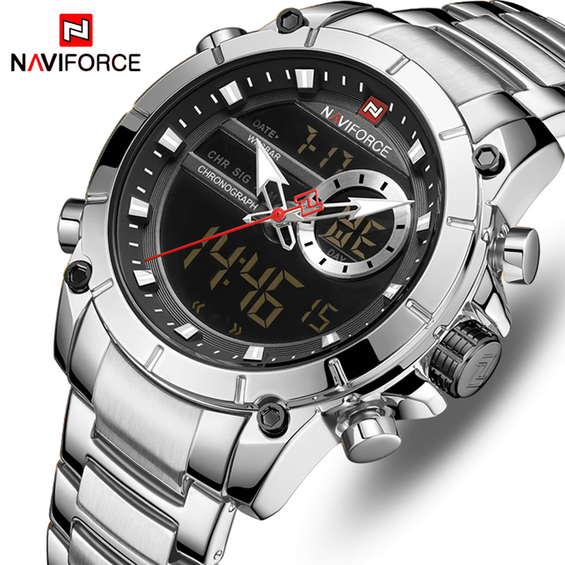 NAVIFORCE Watch Men Luxury Brand Fashion Digital Watches Mens Sports Quartz Wristwatch Full Steel Male Clock Relogio Masculino