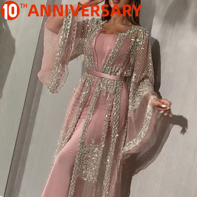 OllyMurs 2020 Gold Stamp Sexy Long Pink Gown Dress Shawl Party Gown  Evening Dress Long Silver Shawl Evening Dress Coat