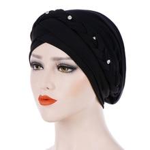Women Solid Color Diamonds Braid Hijab Caps Muslim Head Scarf Turban Islamic Headwrap Cap Ladies Hair Care Chemo Beanie Hat