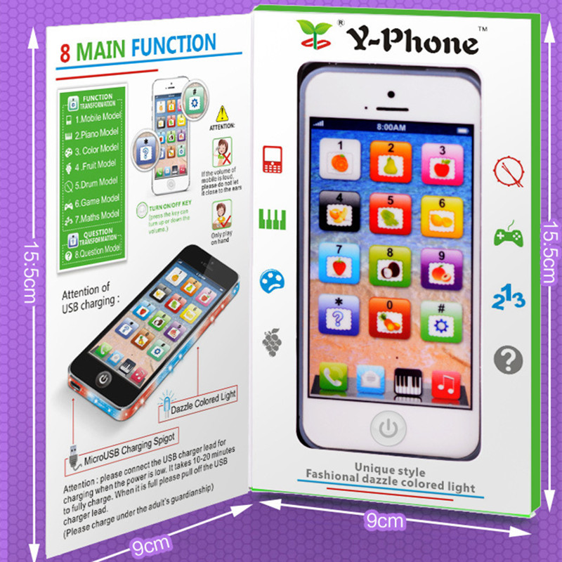 Baby Simulation Mobile Phone Toy Cellphone With LED Chrismtas Gifts Kid English Learning Educational Tools