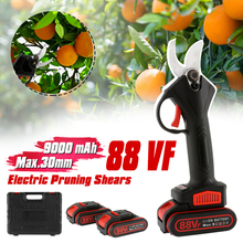 88V Rechargeable Electric Pruning Scissors Efficient Garden Landscaping Electric Pruning Shear Tree Scissors with 2 Battery