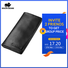 BISON DENIM Men's Purse Cowhide Genuine Leather Long Wallet Slim Black Clutch Male Wallets ID Card Holder Thin Purse N4329-1