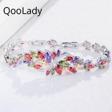 QooLady Luxury Multicolored Leaf Flower CZ Crystal Big Wedding Brides Bracelet Bangle Jewelry for Women Costume Accessories S005