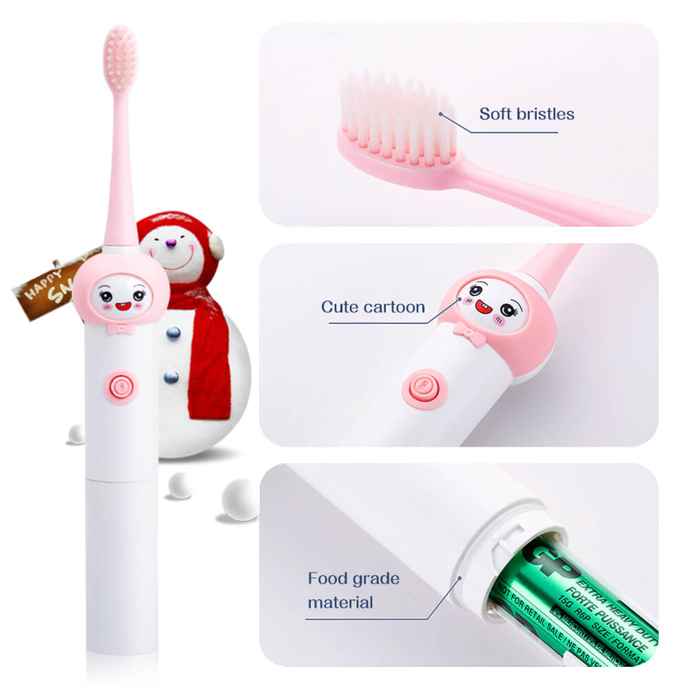 Children Sonic Electric Toothbrush USB Rechargeable Cartoon Pattern Brush Teeth With Replacement Head For Kids 3-12 year