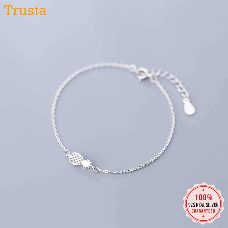 Trusta 100% 925 Solid Sterling Silver Fashion Women Drawing Fruit Pineapple Bracelet 16cm For Teen Girls Lady Gift Jewelry DA50