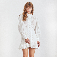 цена на Paris Girl Casual Hollow Out Sexy Shirt Dress Women Lantern Sleeve High Waist Ruffle Mini Dresses Female Summer Fashion