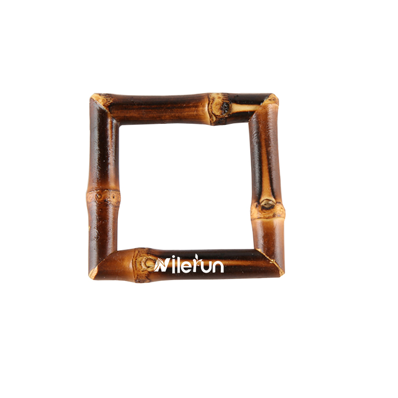 Fashion Clothing Bags Belt Accessories Geometric Square Wooden Rattan Bamboo Root Belt Buckle Napkin Ring