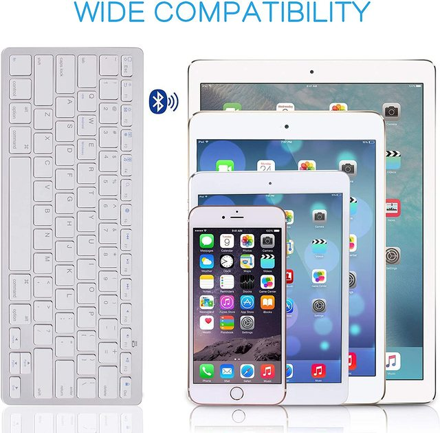 Ultra Slim Wireless Keyboard for Desktop Laptop Tabelt and For Apple iPad iPhone MacBook Android Windows PC Bluetooth Keyboard