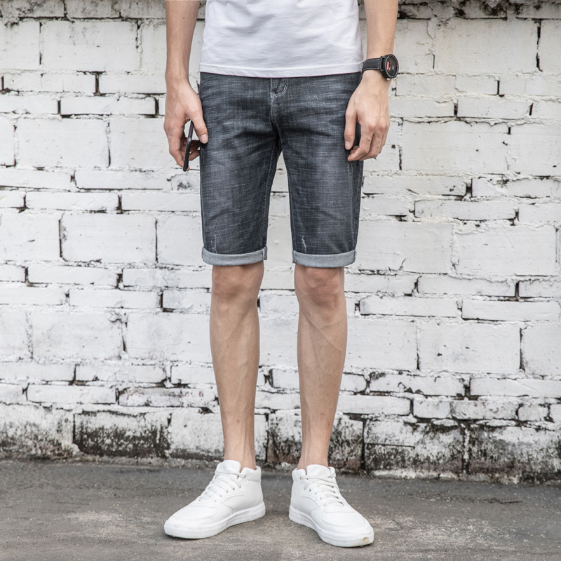 2019 Summer MEN'S Jeans Shorts Korean-style With Holes Elasticity Men Fifth Pants Trend Summer Shorts 5 Points