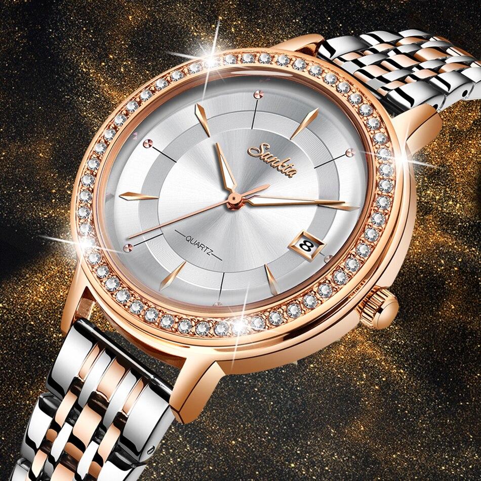 SUNKTA Women Watch Top Brand Luxury Casual Fashion Watch Lady Diamond Waterproof Quartz Wristwatch Watch  Women Relogio Feminino
