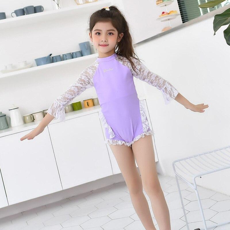 South Korea New Style KID'S Swimwear GIRL'S Princess Swimwear Split Skirt-Half-sleeve Shirt Sun-resistant Cartoon Women's Big Bo
