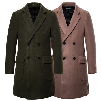 YF24 New Fashion Autumn & Winter Clothes Male Double Breasted Wool Overcoat Men's Trench Coat