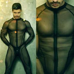 2020, Мужской Черный Экзотический Костюм Для Бади, прозрачное Эротическое нижнее белье, сетка на молнии для мужчин, сексуальное