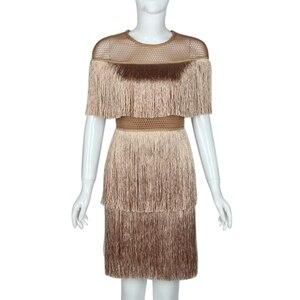Image 1 - Kadınlar Vintage elbise yaz püskül katmanlı Vestido parti Clubwear saçak elbiseler plaj örgü sıkı moda bayanlar düz Midi elbise