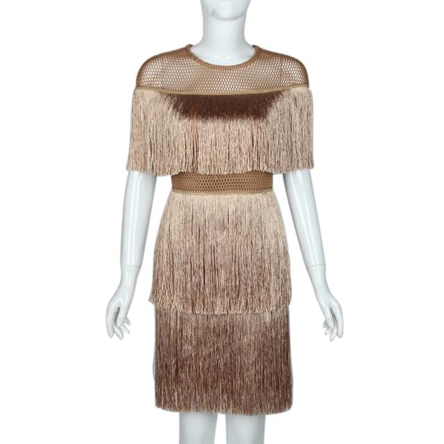נשים בציר שמלת קיץ ציצית שכבות Vestido מסיבת Clubwear פרינג שמלות חוף רשת הדוק אופנה גבירותיי מוצק Midi שמלה