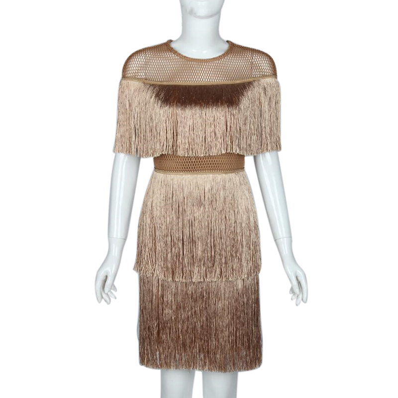 Women Vintage Dress Summer Tassel Layered Vestido Party Clubwear  Fringe Dresses Beach Mesh Tight Fashion Ladies Solid Midi DressDresses