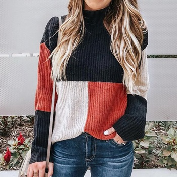 Laamei New Autumn Winter Fashion Women Knitted Plaid Patchwork Sweater Turtleneck Long Sleeve Female Casual Streetwear