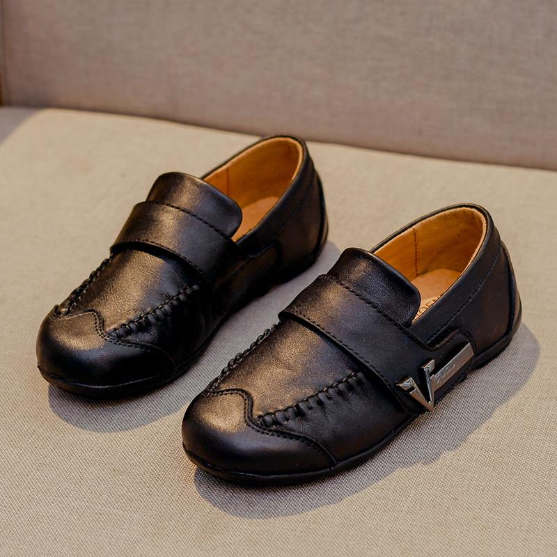 Genuine Leather Child Shoes For Boys Black Dress Children Loafers Big Kids Peas Shoes Student School Style Kids Moccasins Rubber