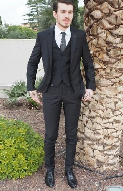 Three Piece Black Evening Party Men Suits Notch Lapel Slim Fit Suit Mens Custom Made Wedding Tuxedos (Jacket + Pants + Vest+Tie)