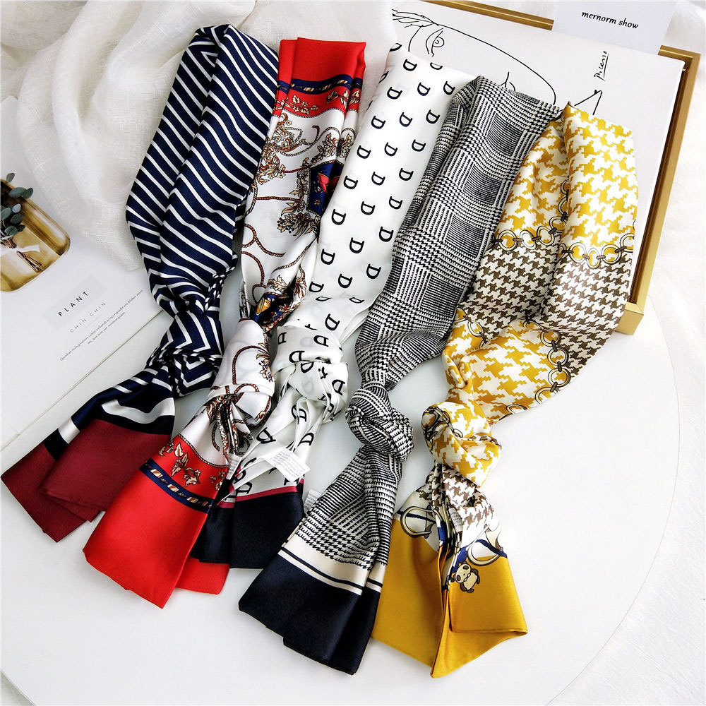 2020 New Summer Fashion Houndstooth Plaid Printed Satin Neck Scarf Shawl Ladies Silk Bag Handle Scarfs Neckerchiefs For Women