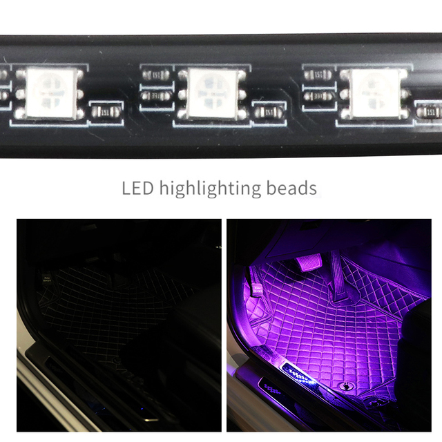 LED Car Foot Light Ambient Lamp With USB Wireless Remote Music Control Multiple Modes Automotive Interior Decorative Lights 3