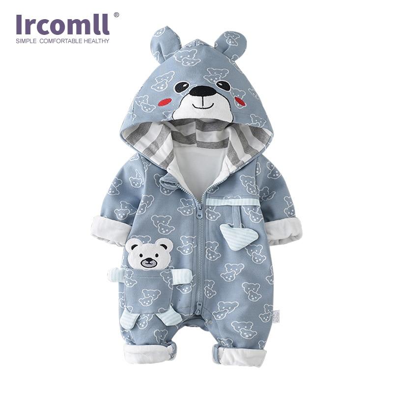 Ircomll Infant Baby Rompers Cotton Padded Thicken Newborn Boys Girls Clothes Unisex kid Jumpsuits Autumn Cartoon Bear Toddler