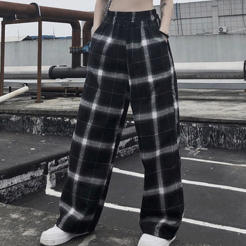 Harajuku Plaid Wide Leg Pants Women Gothic Vintage Fashion Japan Style Preppy Autumn Girl Loose High Waist