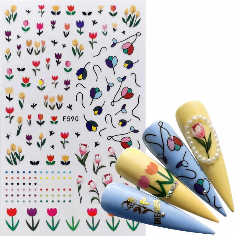 1 adet Mix yeşil yapraklar tırnak çıkartmalar çiçek hayvan kelebek 3D yapışkanlı kaydırıcılar sarar İpuçları Charm sanat manikür süslemeleri