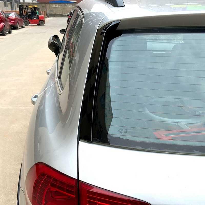 2Pcs 광택 블랙 후면 측면 윙 지붕 스포일러 커버 스티커 트림-폭스 바겐 Touareg 2011-2017 자동차 액세서리