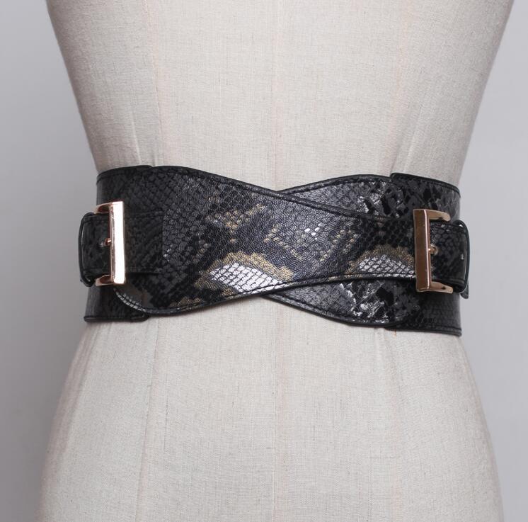 Women's Runway Fashion Snakeskin Pu Leather Elastic Cummerbunds Female Dress Corsets Waistband Belts Decoration Wide Belt R2440