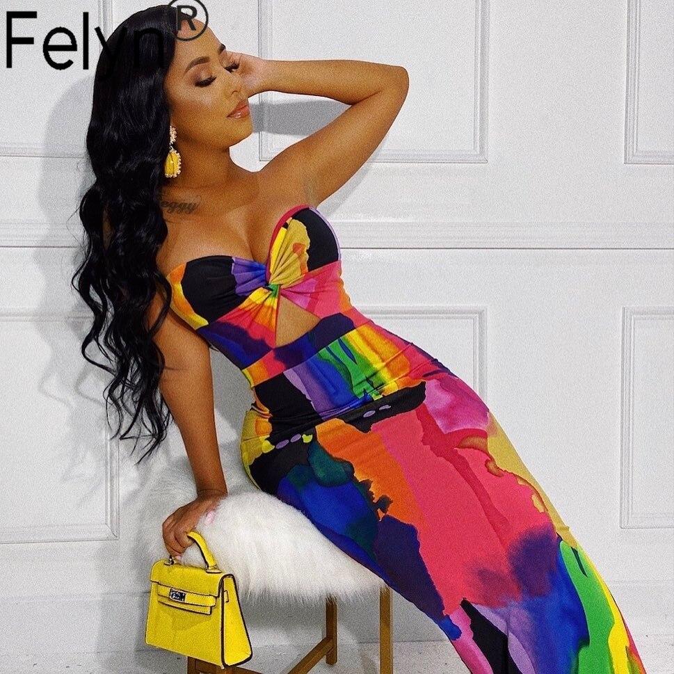 Felyn 2020 лучшее качество модный дизайн 2 штуки платье шикарный принт с открытыми плечами летнее вечернее платье макси Vestidos BB7078