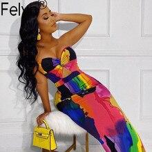 Felyn 2020 Best Quality Fashion Design 2 pieces Dress Chic Print Off Shoulder Summer Night Party Maxi Dress Vestidos BB7078