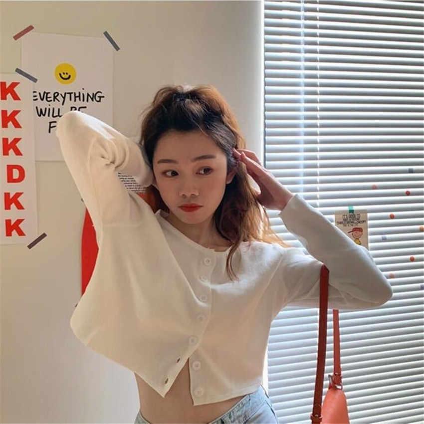 Kore tarzı o-boyun kısa örme kazak kadınlar ince hırka moda kollu güneş koruma kırpma üst Ropa Mujer