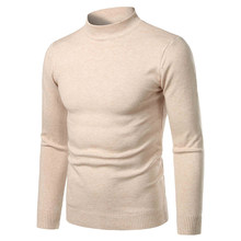 Men's Turtleneck Sweater Autumn Winter Warm Cold Blouse Knitwear Charming Slim Fit Casual Pullover Solid Color Sweater Plus Size(China)