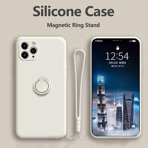 Image 2 - Funda de silicona con soporte para anillo para iPhone, funda magnética para iPhone 11 Pro XR Max X XS Max 8 Plus SE 2020
