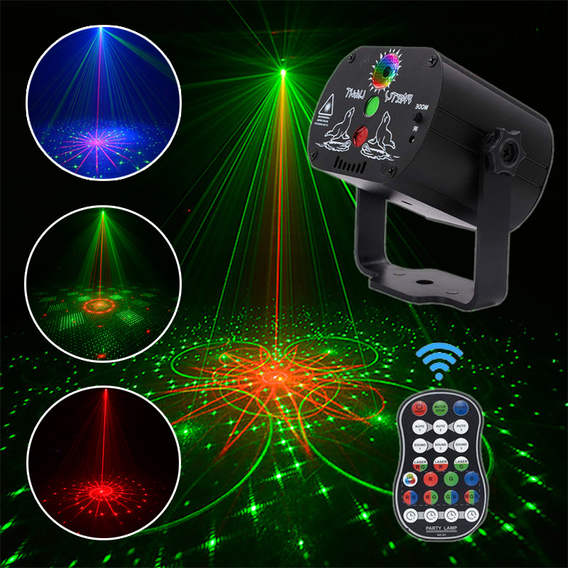 LED Disco Light Christmas Laser Projector RGB 60 Patterns Party Light Soundlights DJ Stage Light Halloween Decorations For Home