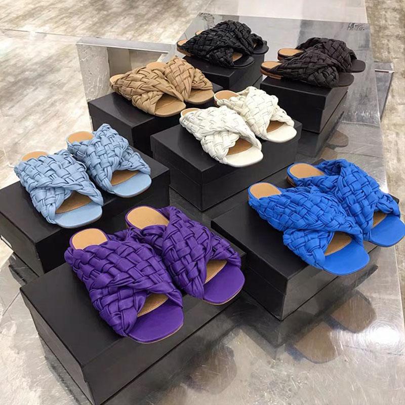 Шлепанцы женские плетеные, пляжные сандалии, плоская подошва, Повседневная модная Уличная обувь, элегантные тапки, большие размеры, лето
